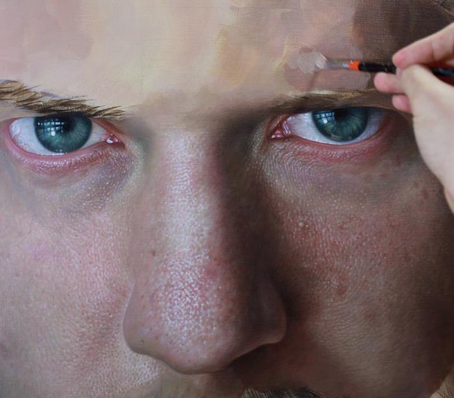 Skin texture and facial hair in the hyperrealistic portrait By
